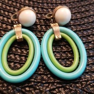 Trifari vintage mid century plastic earrings.